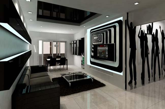 phòng khách kiến trúc Pháp