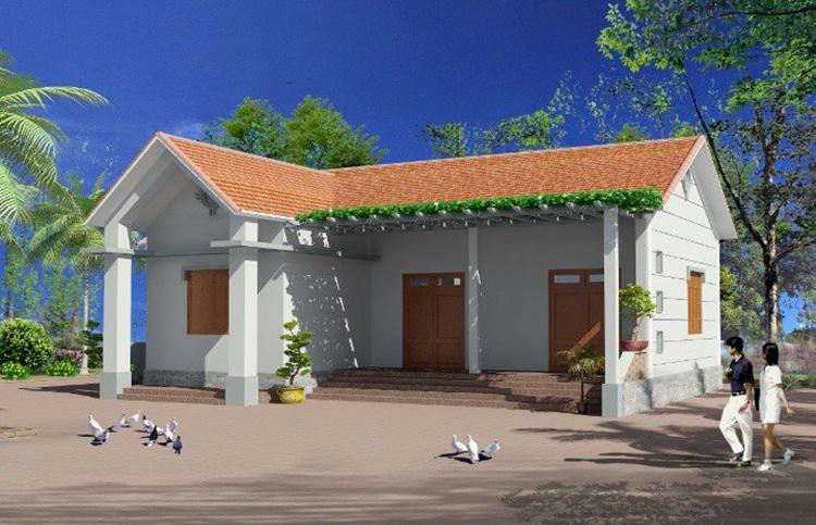 Mẫu thiết kế nhà cấp 4 hình chữ L mái Thái