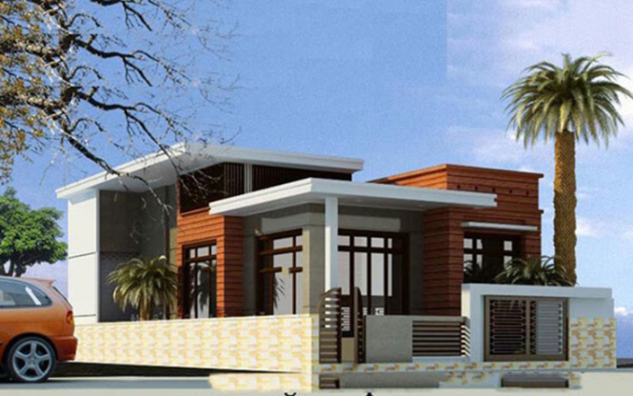 Thiết kế nhà sân vườn 1 tầng mái thái chữ L