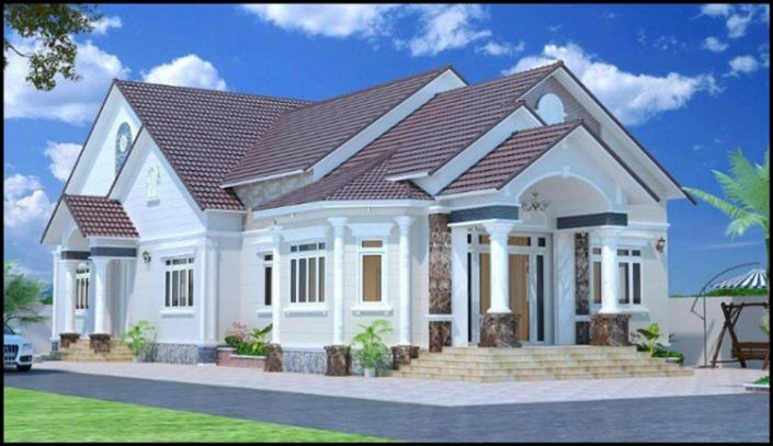 Mẫu nhà cấp 4 hiện đại mái Thái