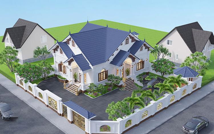 Mẫu Nhà Cấp 4 2 phòng master Mái Thái 10m x 11m