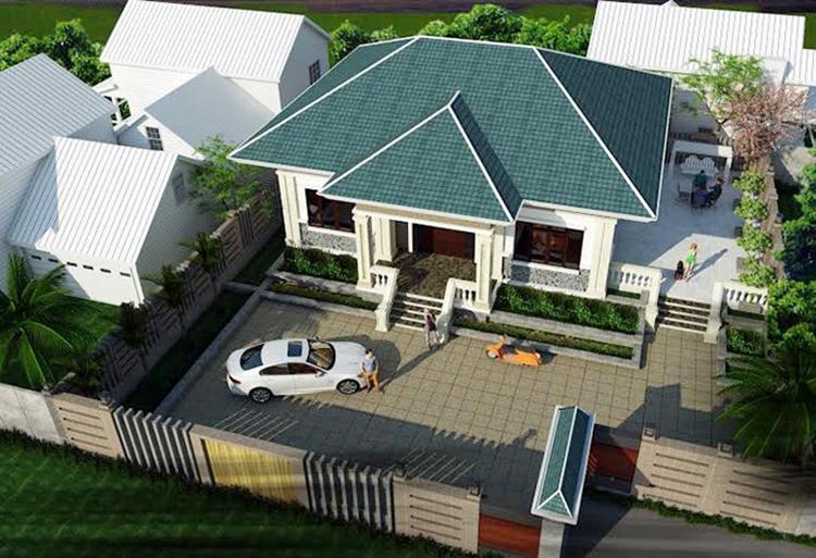 Nhà cấp 4 hiện đại 2 buồng ngủ mái Thái