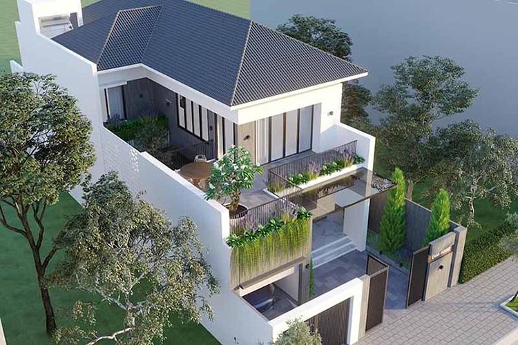 Bản vẽ nhà vườn 2 tầng chữ L 180m2