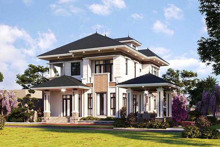 Biệt thự vuông hai tầng kiểu nhà vườn