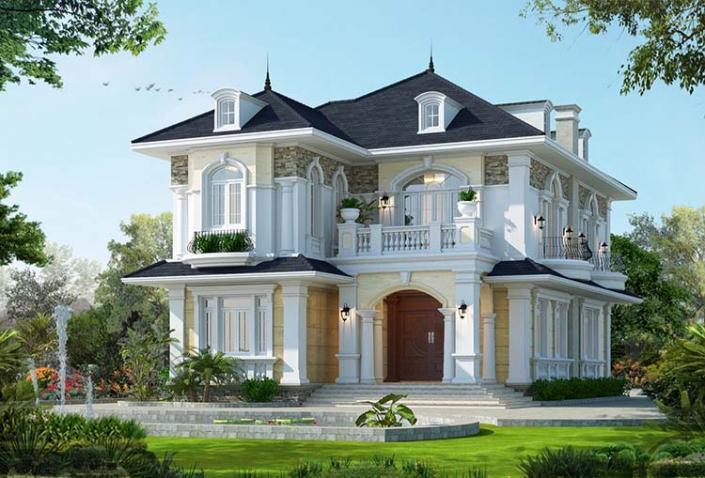Mẫu nhà hai tầng 2 mặt tiền đẹp mái thái
