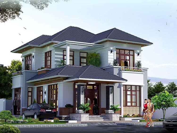 Thiết kế mẫu nhà 2 tầng 4 phòng mái Nhật