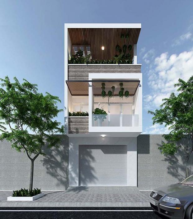Mẫu nhà 2 tầng 3 phòng bedroom 5×15 có gara nhỏ