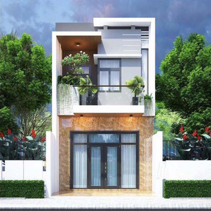 Kiến trúc nhà 2 tầng 5×15 mái bằng