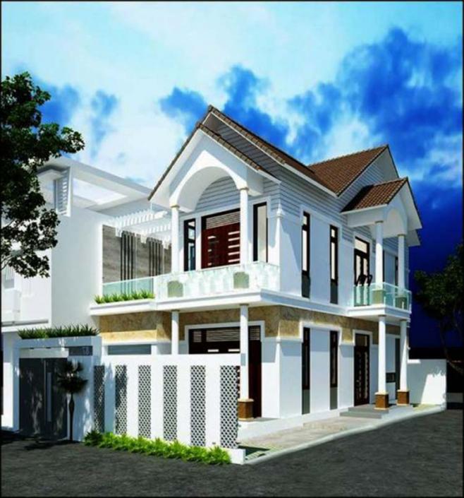 Mẫu nhà 2 tầng vát góc 2 mặt tiền mái thái