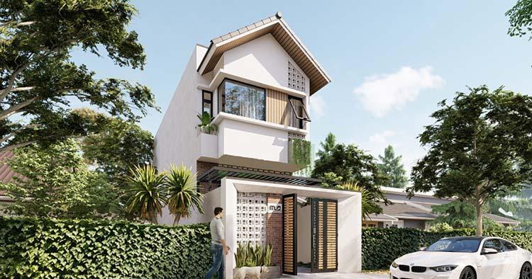 Thiết kế nhà 2 tầng mái Thái 5x15m