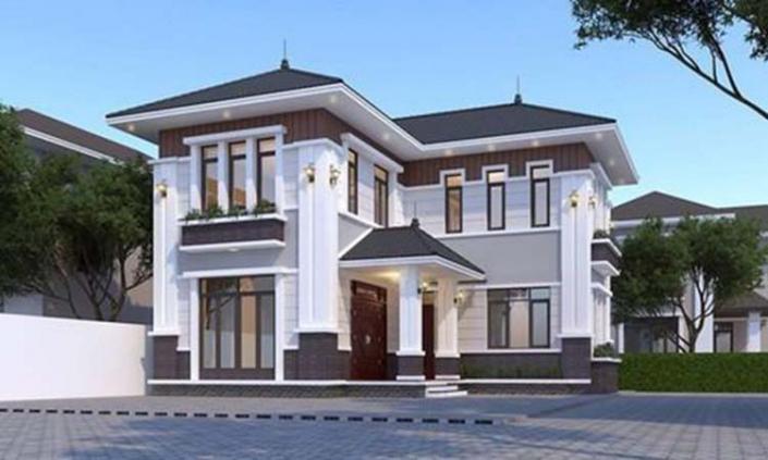 Mẫu nhà 2 tầng chữ l kiểu Á Đông
