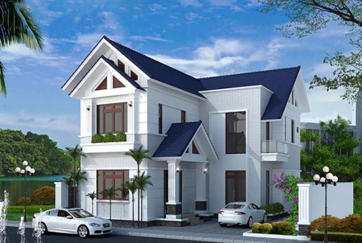 Nhà mái Thái 2 tầng chữ L 4 phòng ngủ