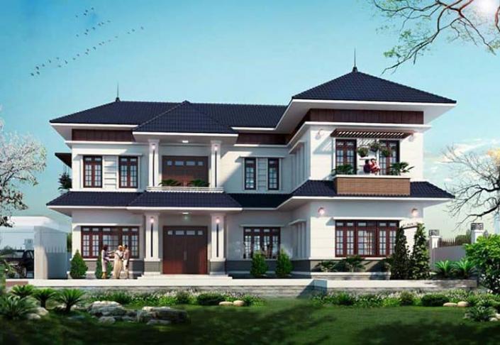 Mẫu nhà chữ L 2 tầng kiểu nhà vườn