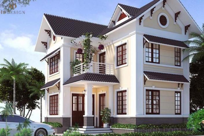 Thiết kế nhà 2 tầng chữ l có gara oto