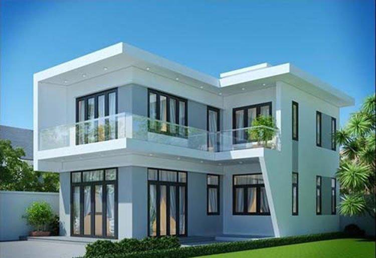 mẫu nhà 2 tầng mái bằng đẹp