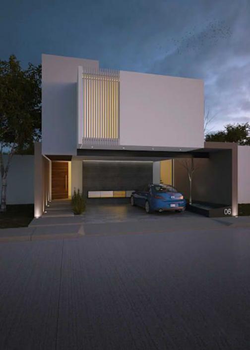 Mẫu nhà 2 tầng mái bằng có gara để xe