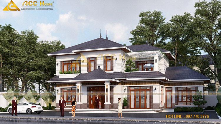 Thiết kế nhà mái Nhật 2 tầng 15x16m