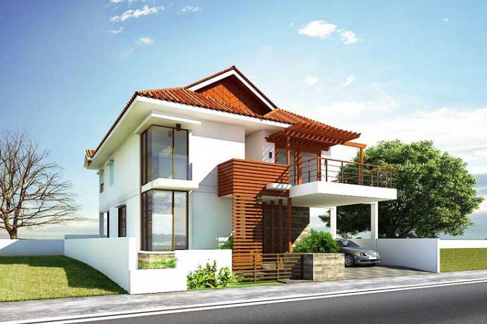 Nhà mái Nhật 2 tầng kiểu Á Đông