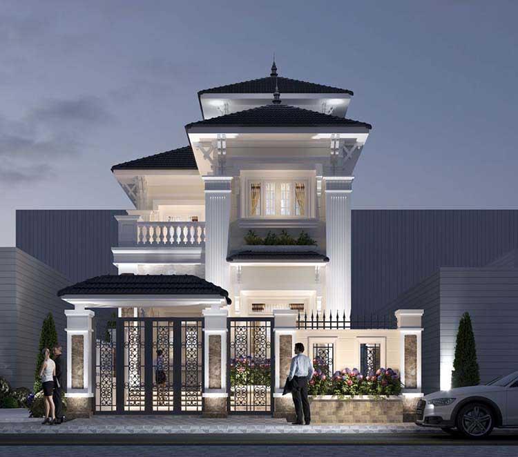 Thiết kế nhà 2 tầng 4 phòng ngủ mái bằng 180m2