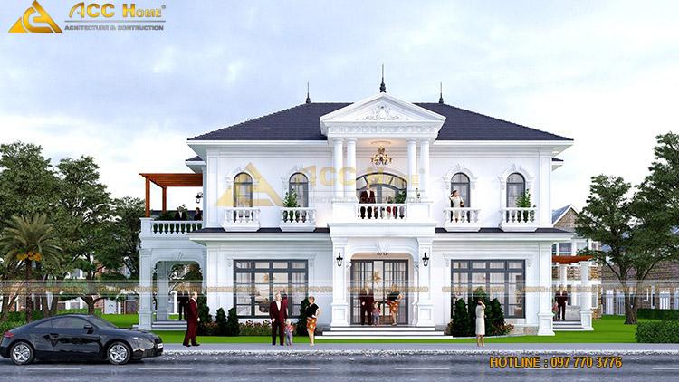 Thiết kế nhà 2 tầng 4 phòng ngủ kiểu tân cổ điển