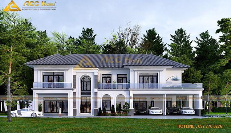 Thiết kế nhà 2 tầng 4 phòng có gara ô tô