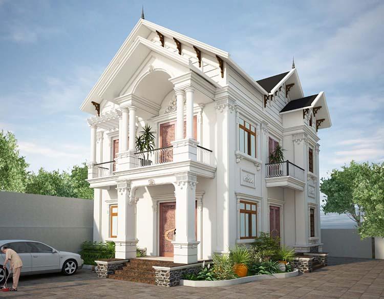 Mẫu thiết kế nhà mái Thái 2 tầng có phòng thờ