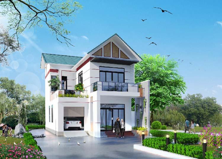 Nhà mái Nhật 2 tầng màu trắng