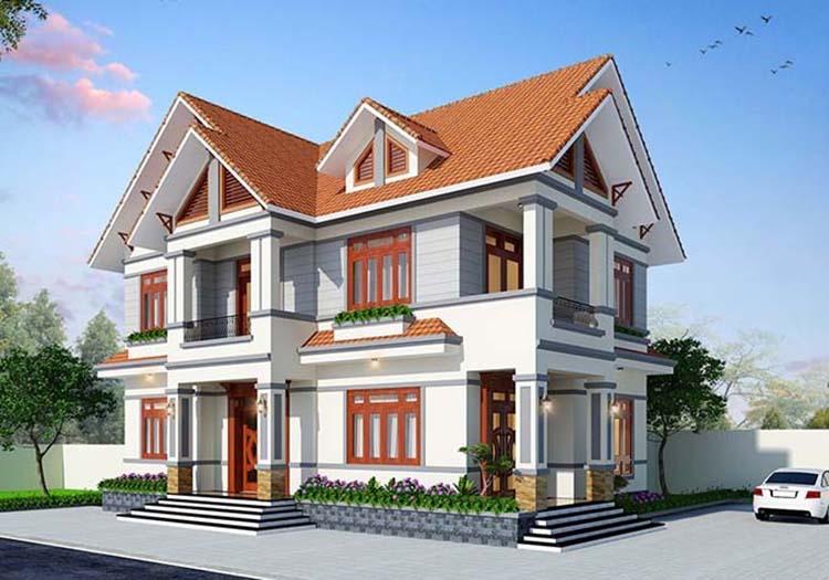 Mẫu nhà 2 tầng đơn giản 4 phòng ngủ