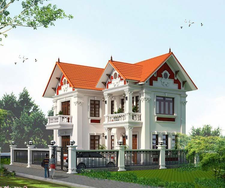 Nhà vườn hai tầng mái Thái kiểu tân cổ điển