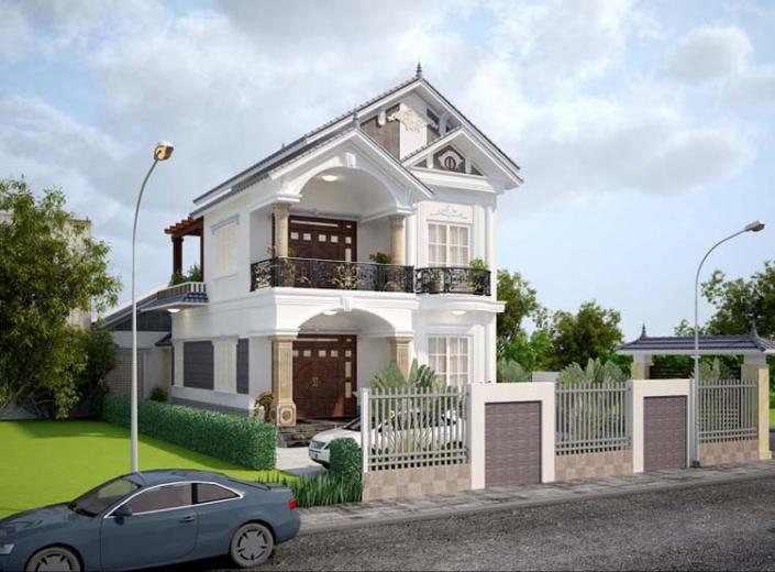 Thiết kế nhà 2 gian 3 tầng 120m2