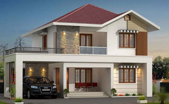 Thiết kế nhà 2 tầng 4 phòng master mái bằng
