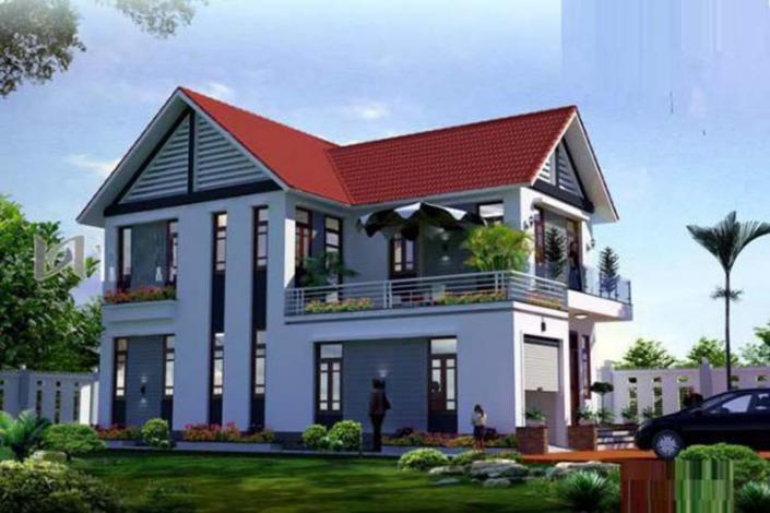 Mẫu nhà chữ L 2 tầng mái Thái 100m2