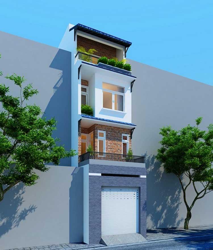 Bản thiết kế nhà ống 2 tầng màu nhẹ