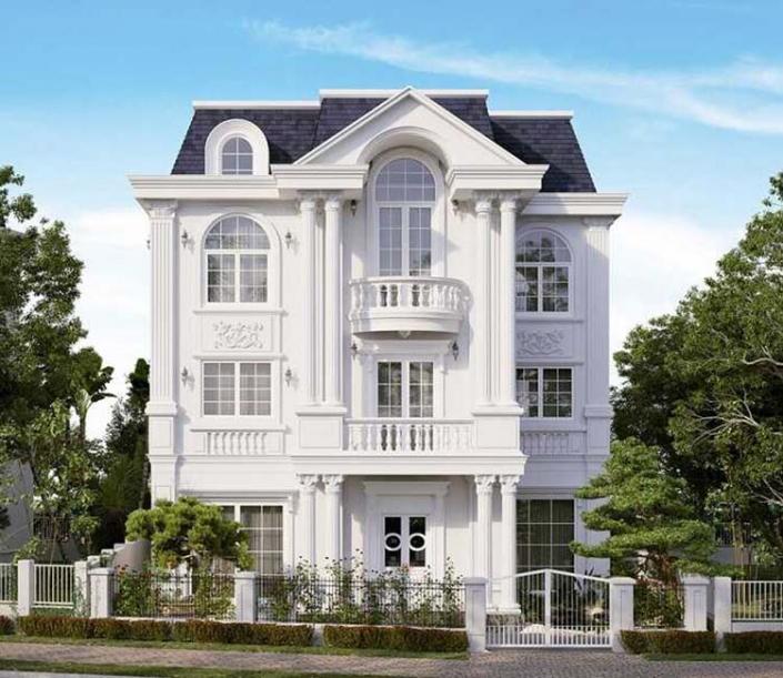Biệt thự 3 tầng kiến trúc Pháp 4 phòng ngủ