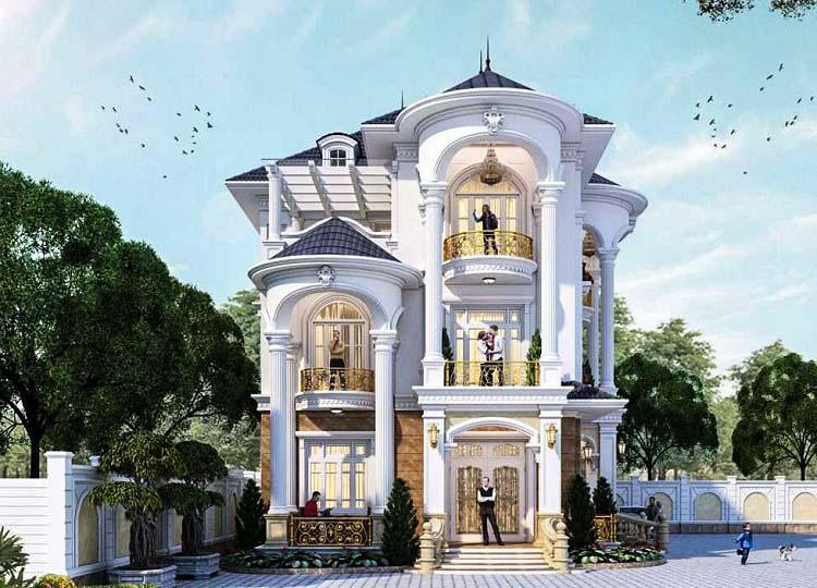 Biệt thự 3 tầng kiến trúc Pháp đẹp 5 phòng ngủ