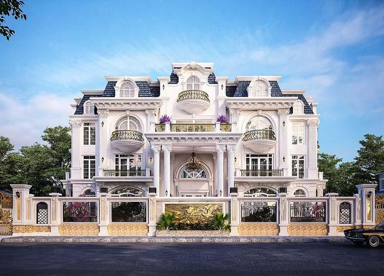 Biệt thự 3 tầng kiến trúc Pháp đẹp mái Mansard