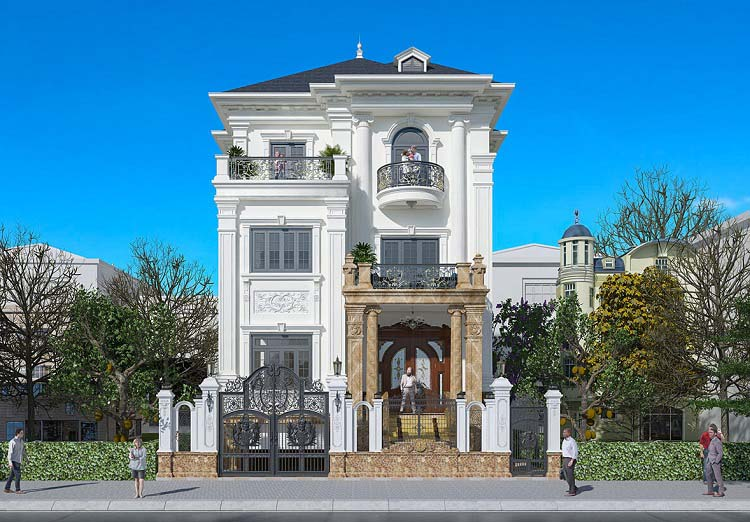 Mẫu thiết kế biệt thự phố kiến trúc Pháp
