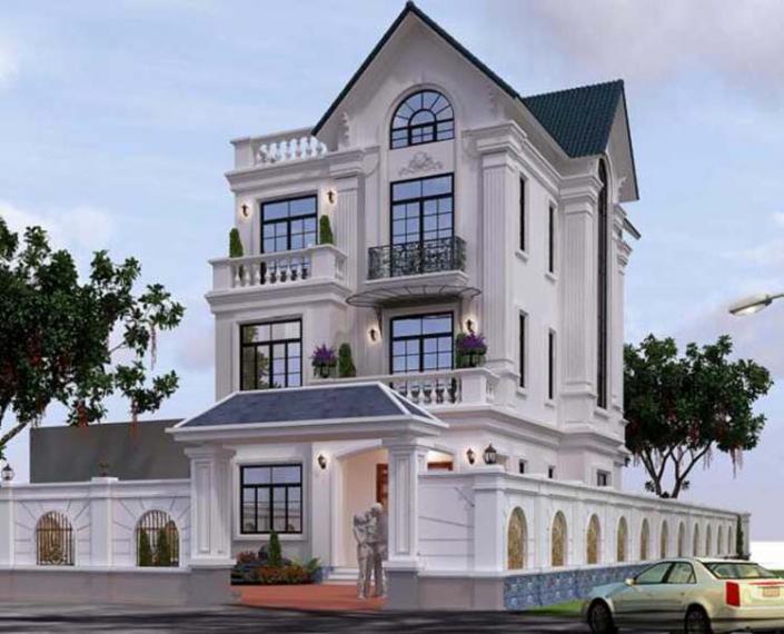 Biệt thự kiến trúc Pháp 3 tầng mái Thái
