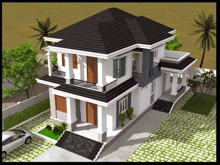 Thiết kế nhà 2 tầng 3 gian 130m2 mái Thái